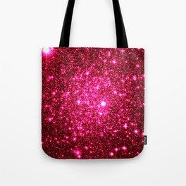 Hot Pink Glitter Galaxy Stars Tote Bag