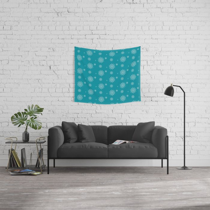 White Snowflakes on Turquoise Wall Tapestry