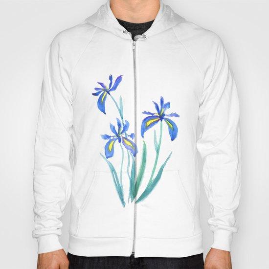 blue iris watercolor Hoody