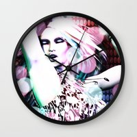 rave Wall Clocks featuring Rave by Vaia