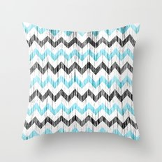 Grunge Chevron black/white/cyan Throw Pillow