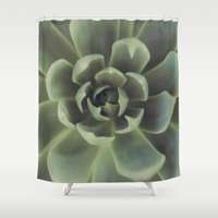 succulent Shower Curtains featuring Succulent by Andrea Hurley