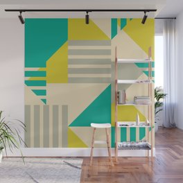 Geometric Abstract - Greens Wall Mural