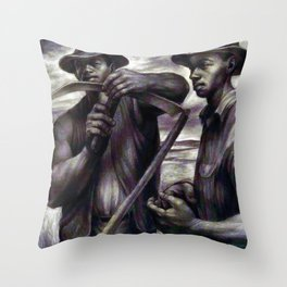 African American Masterpiece 'The Revolt (the harvest) by C. White Throw Pillow