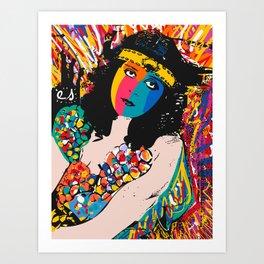Pop Art Graffiti Portrait of Theda Bara Vintage Actress of Hollywood  Art Print