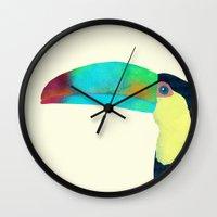 toucan Wall Clocks featuring Toucan by Eric Fan