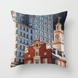 A Golden Day - Boston Old State House Throw Pillow