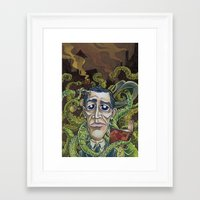 lovecraft Framed Art Prints featuring H.P. Lovecraft by Pajamarai Illustrations