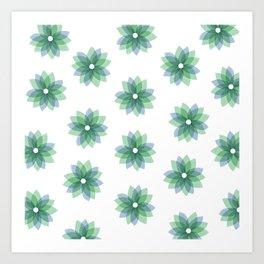 Geo Spring Flowers 01 Art Print