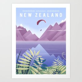 New Zealand Travel Poster Art Print