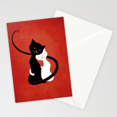 White And Black Cats In Love (red) Stationery Cards