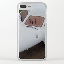 Drone's Reflection In Private Jet Window Clear iPhone Case