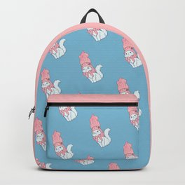 White Cat Wears Squid Hat Backpack