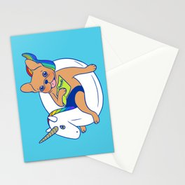 Frenchie enjoys summer on unicorn pool float in swimming pool Stationery Cards