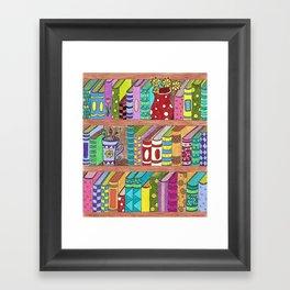 Colorful books on shelves Framed Art Print