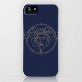 medusa / gold minimal line logo on navy background iPhone Case