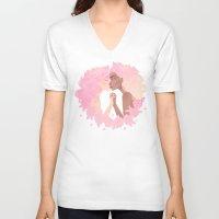 sassy V-neck T-shirts featuring Sassy Kisses by Petite Passerine