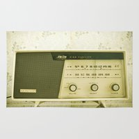 radio Area & Throw Rugs featuring Vintage Radio by Ashley Jensen