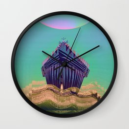 Surfing The Big Wave Searching Mermaids Wall Clock