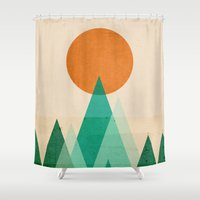 mountains Shower Curtains featuring No mountains high enough by Picomodi