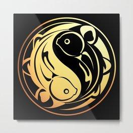 Yin Yang Fish:  Gold on Black Metal Print
