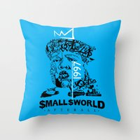 biggie smalls Throw Pillows featuring Smalls World After All (Biggie Lives On) by dylated