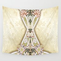 vintage floral Wall Tapestries featuring Vintage Floral by Robin Curtiss