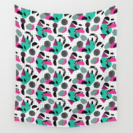 Cha Ching - abstract throwback memphis retro 80s 90s pop art grid shapes Wall Tapestry