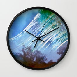 between the tree and the deep blue sky (pinhole camera) Wall Clock