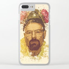 Breaking Bad, Walter White splatter painting Clear iPhone Case