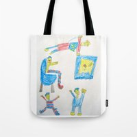 workout Tote Bags featuring Dad's Workout Time by Dozer and Beans