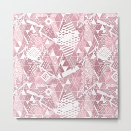Abstract ethnic pattern in dusky pink, white colors. Metal Print