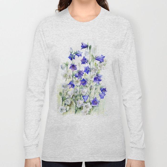 Bluebells watercolor flowers, aquarelle bellflowers Long Sleeve T-shirt