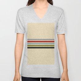 Abstract Minimal Retro Stripes 70s Style - Shigenaga Unisex V-Neck