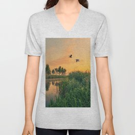 Summer dawn on a small river Unisex V-Neck