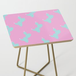Teal Cactus w/pink background Side Table