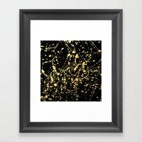 Splat Gold on Black Framed Art Print