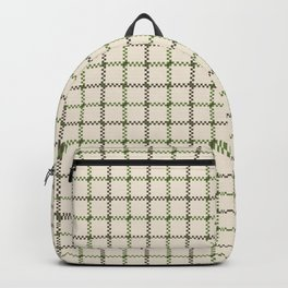 Fern Green & Sludge Grey Tattersall on Cream Background Backpack