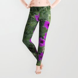 Wild Flowers in Purple and Yellow Leggings