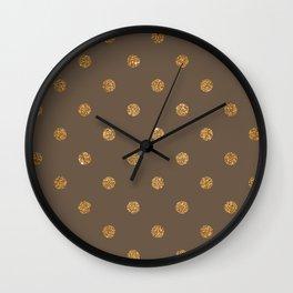Umber Gold Glitter Dot Pattern Wall Clock