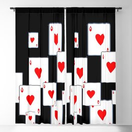 RED HEART ACES CASINO PLAYING CARDS ON BLACK Blackout Curtain