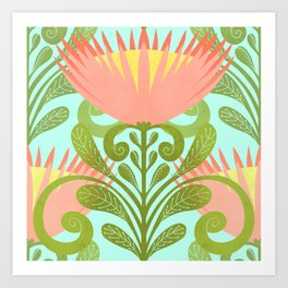 King Protea Flower Pattern - Turquoise Art Print