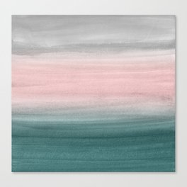 Touching Teal Blush Gray Watercolor Abstract #1 #painting #decor #art #society6 Canvas Print