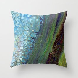 Age And Beauty - Original, abstract, fluid, marbled painting Throw Pillow