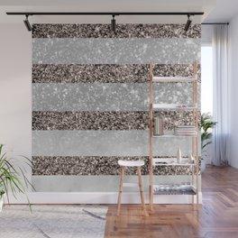 White Marble Rose Gold Glitter Stripe Glam #2 #minimal #decor #art #society6 Wall Mural