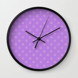 Cotton Candy Pink on Lavender Violet Snowflakes Wall Clock
