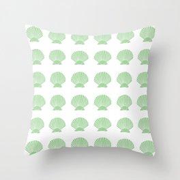 Mint Seashell Throw Pillow