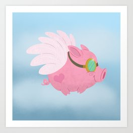 Flying Pink Pig Art Print