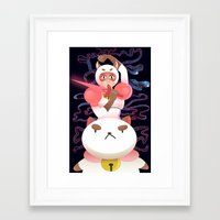 bee and puppycat Framed Art Prints featuring Bee and Puppycat by Terry Blas