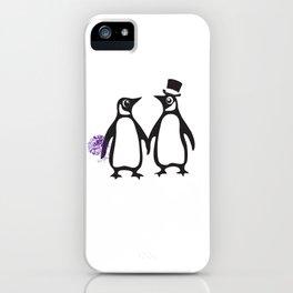 Wedding Penguins, animal lovers, wedding gift, animal illustration, zoo gift iPhone Case
